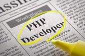 PHP Developer Vacancy in Newspaper. Job Seeking Concept. poster