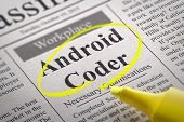 Android Coder Jobs in Newspaper. Job Seeking Concept. poster