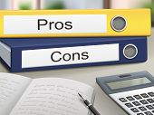 pros and cons binders isolated on the office table poster
