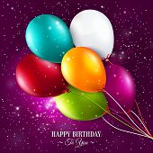Birthday card with balloons and stars on galaxy background. poster