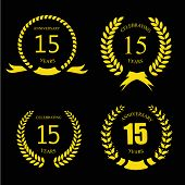 Celebrating 15  fifteen Years Anniversary - Golden Laurel Wreath -  Vector poster