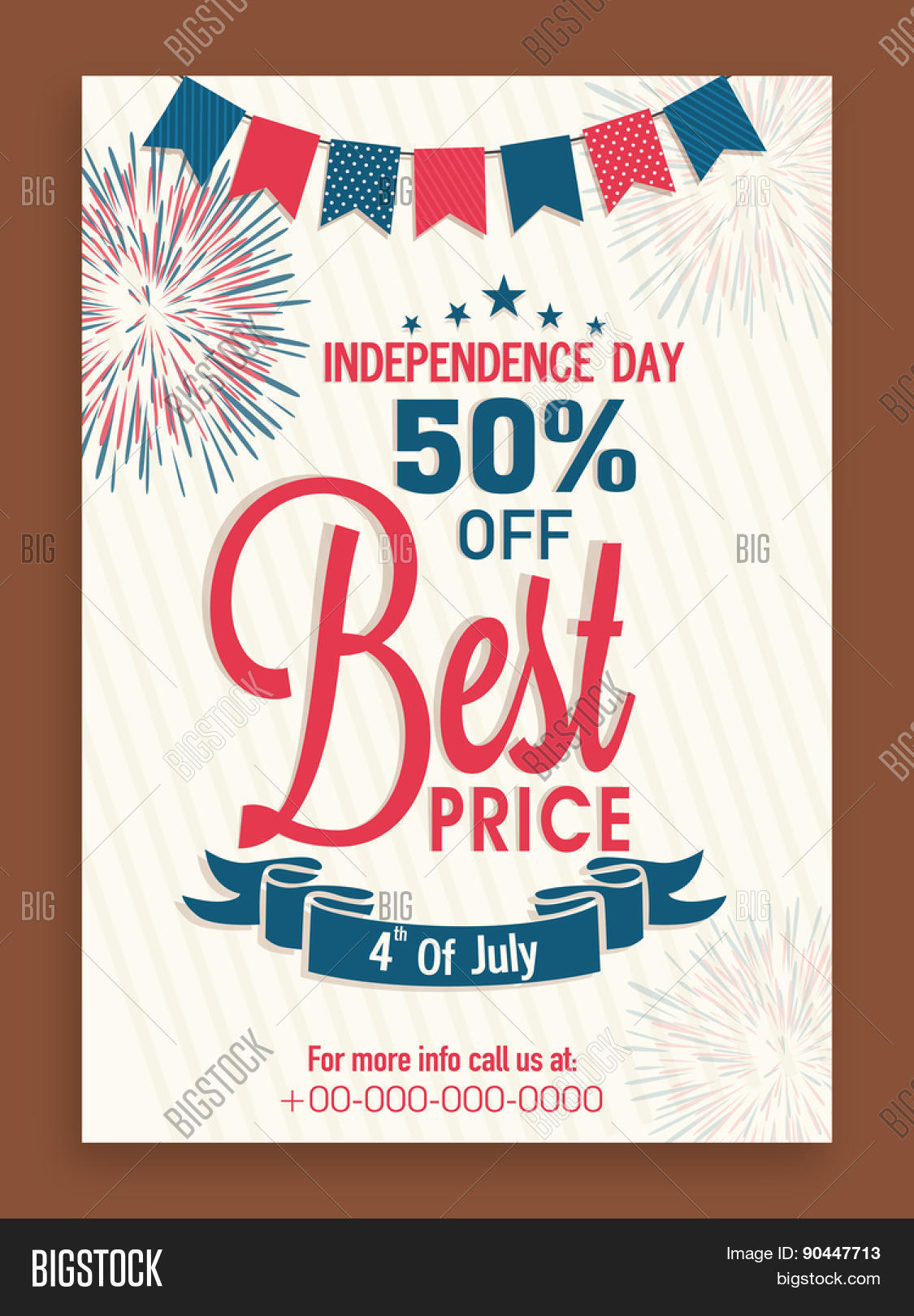 4th Of July, American Independence Day Flyer Or Banner Design With 50%  Discount Offer