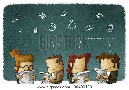 business people reading news