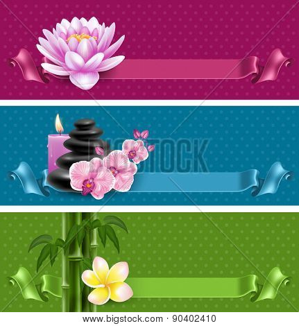 Vector banners on spa theme with bamboo, massage stone, frangipani, candles and orchids
