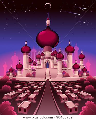 Arabian castle in the night, vector illustration