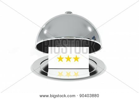 Opened Silver Cloche With White Sign Three Stars Rating