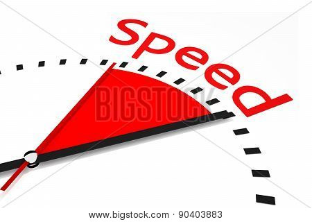 Clock With Red Seconds Hand Area Speed