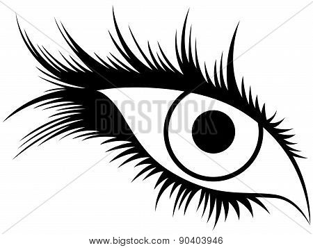 Abstract Human Eye With Long Lashes