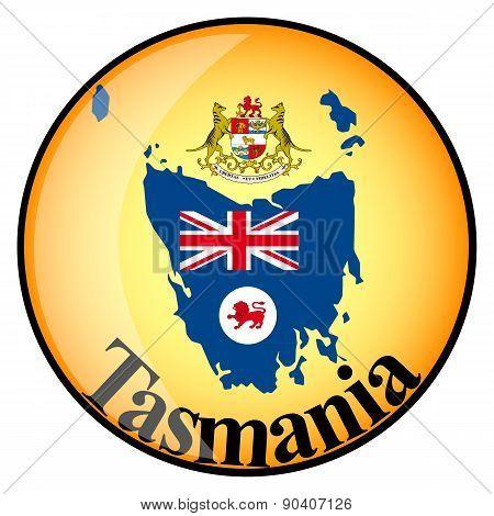 Orange Button With The Image Maps Of Tasmania