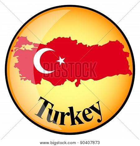 Orange Button With The Image Maps Turkey
