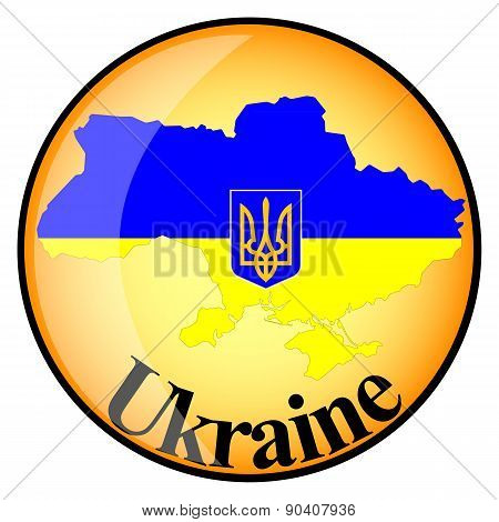 Orange Button With The Image Maps Of Ukraine