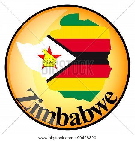Orange Button With The Image Maps Of Zimbabwe