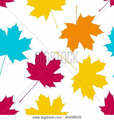 Vector seamless pattern with maple leaves. Autumn fall.