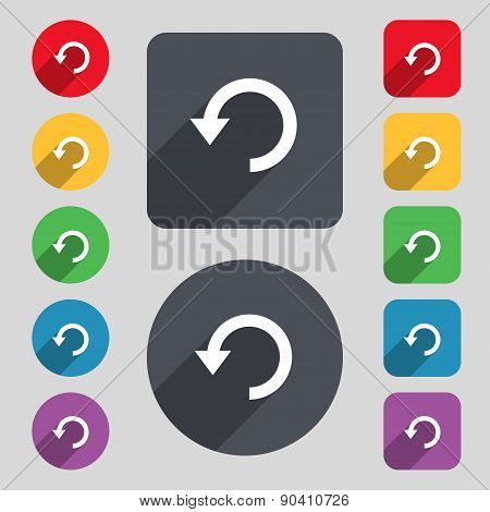 Upgrade, Arrow, Update Icon Sign. A Set Of 12 Colored Buttons And A Long Shadow. Flat Design. Vector