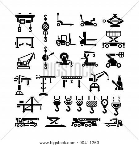 Set Icons Of Lifting Equipments, Cranes, Winches And Hooks
