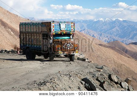 Colorful Truck Brand Tata In Indian Himalayas
