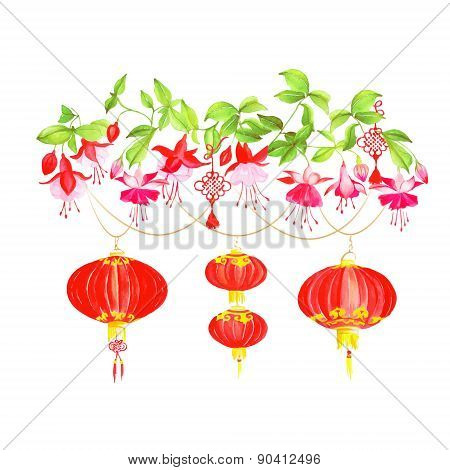 Asian Lanterns And Fuchsia Vector Design Element