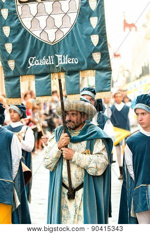 Banner Of The Medieval House In The Parade On The Day Of The Palio