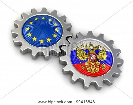 Russian and European union flags on a gears (clipping path included)