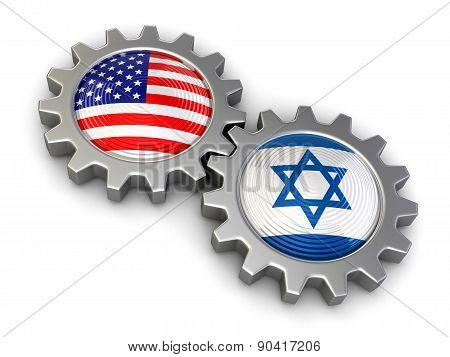USA and Israeli flags on a gears (clipping path included)