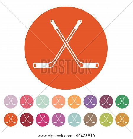 Hockey icon. Sport symbol. Flat Vector illustration. Button Set poster