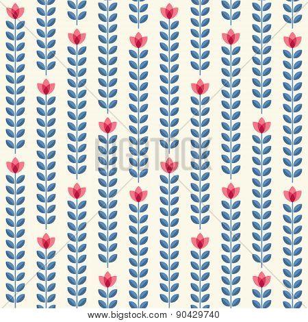 Retro Floral Pattern, Geometric Seamless Flowers