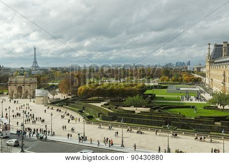 PARIS, FRANCE - NOVEMBER 02, 2014:  View from the Louvre to the Tuileries Gardens