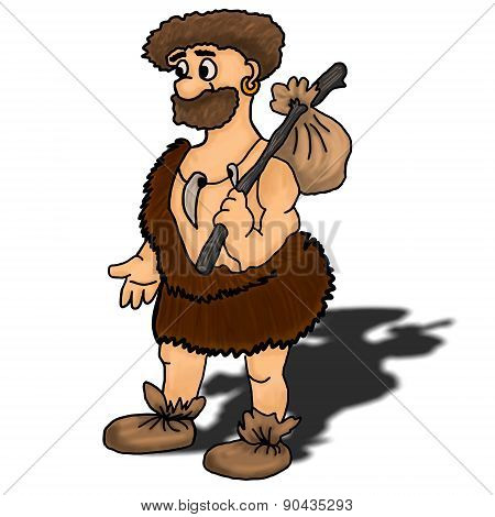 Ancient Man Vector Illustration Happy, Humour, Hunter