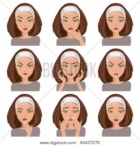 Collection Of Emotions. Vector Illustration
