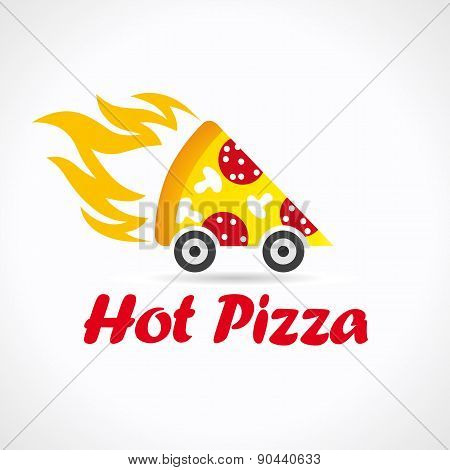 Pizza quickly delivering  logo. Illustration of fiery pizza with sausage and mushrooms. Piece of flamy fastfood car, wheels, brand sign. Cafe, pizzeria, restaurant, lunch bar courier service icon.