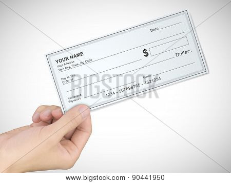 Business Concept: Man's Hand Holding A Check