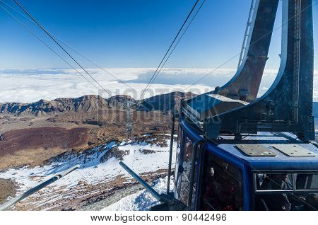 TENERIFE - JANUARY 18: People in car-cable at peak of volcano El Teide are ready for descend January