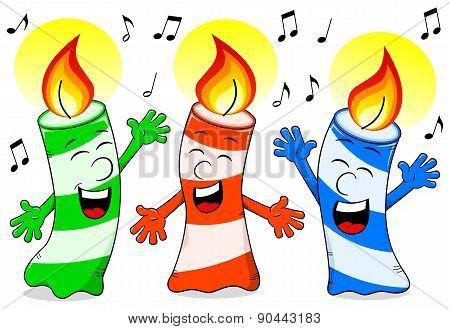 Cartoon Birthday Candles Singing A Birthday Song