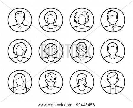 Collection of characters - avatars. Can be used as profile pictures in online apps, games. Can also illustrate social networking.