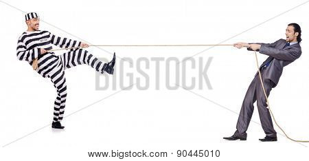 Convicted man and young businessman isolated on white