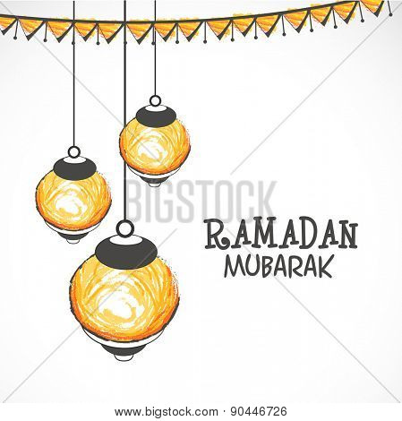 Illuminated hanging lanterns on grey background for Islamic holy month of prayers, Ramadan Mubarak celebrations.