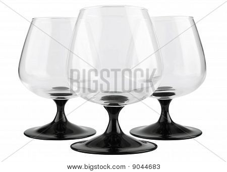 Three Glass Footed Tumblers For Brandy