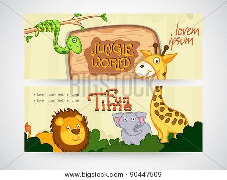 Jungle world banner or website header set.
