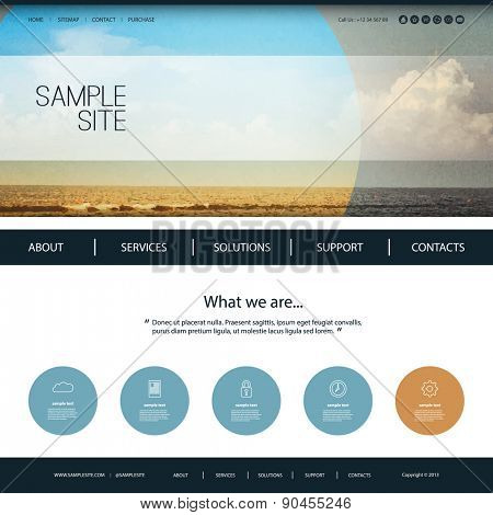 Website Design Template for Your Business with Beach Photo Background