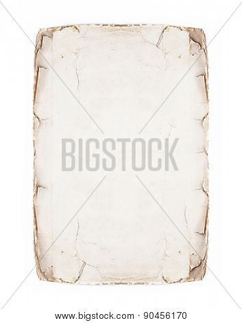 old page isolated on white; antique parchment.
