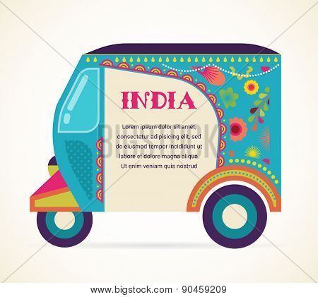 India - background with patterned colorful rickshaw