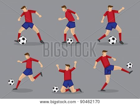 Soccer Player Passing And Dribbling Vector Icon Set