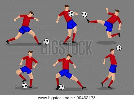 Soccer Player Kicking Passing Heading And Goal Shooting Poses