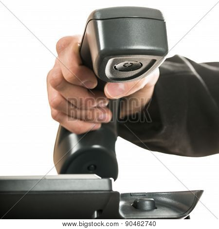Closeup Of A Businessman Hand Hanging Up Or Answering A Telephone Call