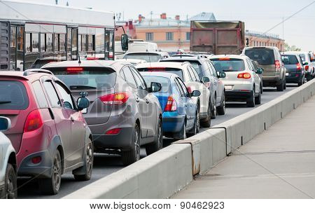 Cars In A Traffic Jam On The Big City Street