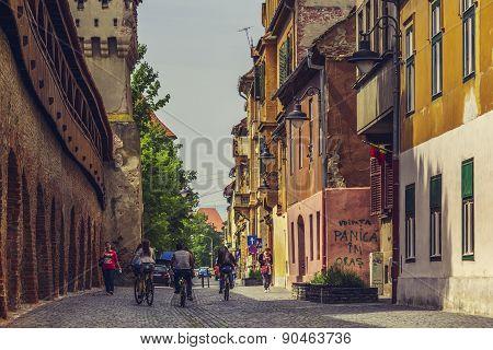 On Bike In Sibiu City, Romania
