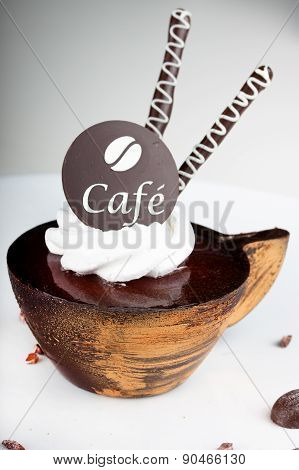 Coffee dessert with a chocolate