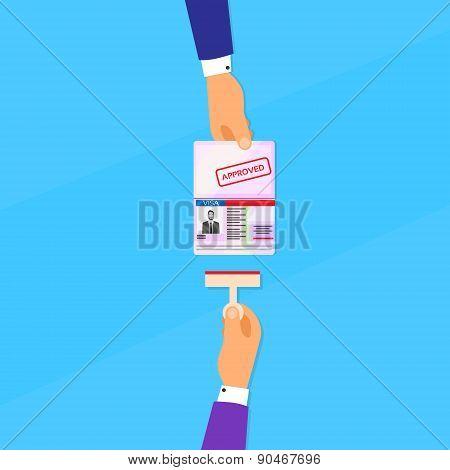 Visa Stamp Passport Flat Icon Businessman Hand