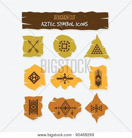 Roughen cut Aztec symbol icons set on white background