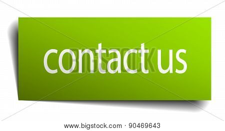 Contact Us Green Paper Sign On White Background